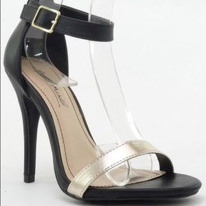 Shoes - Black and gold ankle strappy heels
